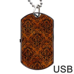 Damask1 Black Marble & Brown Marble (r) Dog Tag Usb Flash (two Sides) by trendistuff