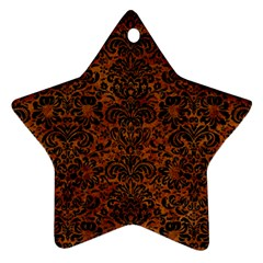 Damask2 Black Marble & Brown Marble (r) Ornament (star) by trendistuff
