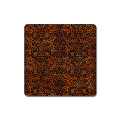 Damask2 Black Marble & Brown Marble (r) Magnet (square) by trendistuff