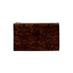 Damask2 Black Marble & Brown Marble (r) Cosmetic Bag (small) by trendistuff