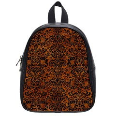 Damask2 Black Marble & Brown Marble (r) School Bag (small) by trendistuff
