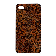 Damask2 Black Marble & Brown Marble (r) Apple Iphone 4/4s Seamless Case (black) by trendistuff