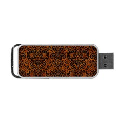Damask2 Black Marble & Brown Marble (r) Portable Usb Flash (one Side) by trendistuff