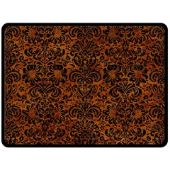 Damask2 Black Marble & Brown Marble (r) Double Sided Fleece Blanket (large)