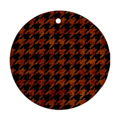 Houndstooth1 Black Marble & Brown Marble Round Ornament (two Sides) by trendistuff