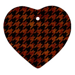 Houndstooth1 Black Marble & Brown Marble Heart Ornament (two Sides) by trendistuff
