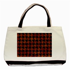 Houndstooth1 Black Marble & Brown Marble Basic Tote Bag (two Sides) by trendistuff