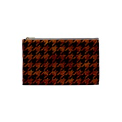 Houndstooth1 Black Marble & Brown Marble Cosmetic Bag (small) by trendistuff