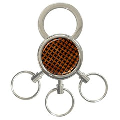 Houndstooth2 Black Marble & Brown Marble 3 Ring Key Chain by trendistuff