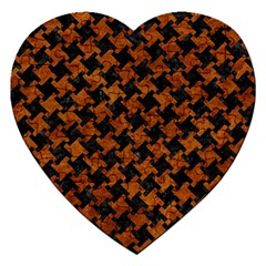 Houndstooth2 Black Marble & Brown Marble Jigsaw Puzzle (heart) by trendistuff