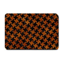 Houndstooth2 Black Marble & Brown Marble Small Doormat by trendistuff