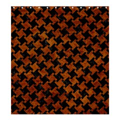 Houndstooth2 Black Marble & Brown Marble Shower Curtain 66  X 72  (large) by trendistuff