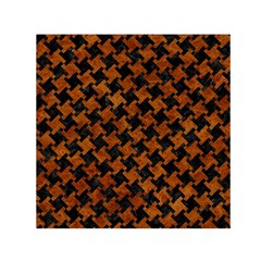 Houndstooth2 Black Marble & Brown Marble Small Satin Scarf (square) by trendistuff