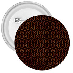 Hexagon1 Black Marble & Brown Marble 3  Button by trendistuff