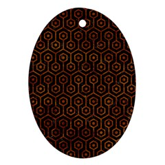 Hexagon1 Black Marble & Brown Marble Ornament (oval) by trendistuff