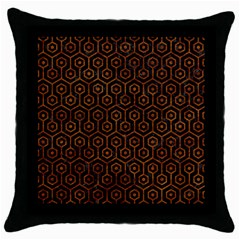 Hexagon1 Black Marble & Brown Marble Throw Pillow Case (black) by trendistuff