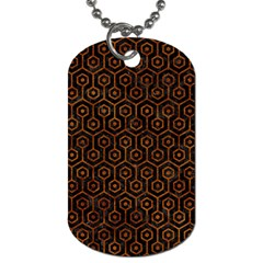 Hexagon1 Black Marble & Brown Marble Dog Tag (one Side) by trendistuff