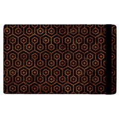 Hexagon1 Black Marble & Brown Marble Apple Ipad 3/4 Flip Case by trendistuff