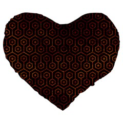 Hexagon1 Black Marble & Brown Marble Large 19  Premium Flano Heart Shape Cushion by trendistuff