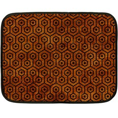 Hexagon1 Black Marble & Brown Marble (r) Double Sided Fleece Blanket (mini) by trendistuff