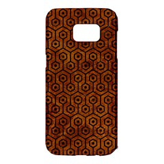 Hexagon1 Black Marble & Brown Marble (r) Samsung Galaxy S7 Edge Hardshell Case