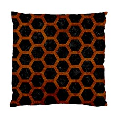 Hexagon2 Black Marble & Brown Marble Standard Cushion Case (one Side) by trendistuff