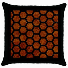 Hexagon2 Black Marble & Brown Marble (r) Throw Pillow Case (black) by trendistuff