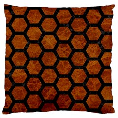 Hexagon2 Black Marble & Brown Marble (r) Large Cushion Case (two Sides) by trendistuff