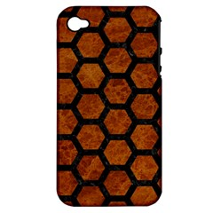 Hexagon2 Black Marble & Brown Marble (r) Apple Iphone 4/4s Hardshell Case (pc+silicone) by trendistuff