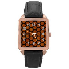 Hexagon2 Black Marble & Brown Marble (r) Rose Gold Leather Watch  by trendistuff
