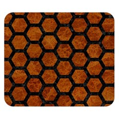 Hexagon2 Black Marble & Brown Marble (r) Double Sided Flano Blanket (small) by trendistuff