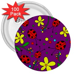Ladybugs   Purple 3  Buttons (100 Pack)  by Valentinaart