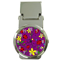 Ladybugs   Purple Money Clip Watches by Valentinaart