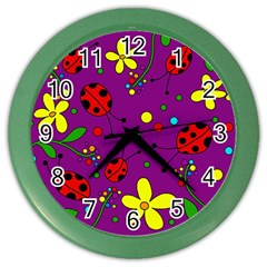 Ladybugs   Purple Color Wall Clocks by Valentinaart