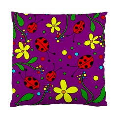 Ladybugs   Purple Standard Cushion Case (one Side) by Valentinaart
