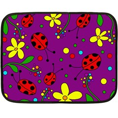 Ladybugs   Purple Double Sided Fleece Blanket (mini)  by Valentinaart