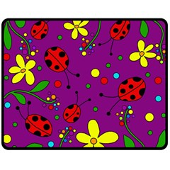 Ladybugs - Purple Fleece Blanket (medium)  by Valentinaart