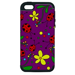 Ladybugs   Purple Apple Iphone 5 Hardshell Case (pc+silicone) by Valentinaart