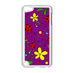 Ladybugs   Purple Apple Ipod Touch 5 Case (white) by Valentinaart