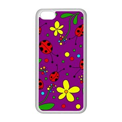 Ladybugs   Purple Apple Iphone 5c Seamless Case (white) by Valentinaart