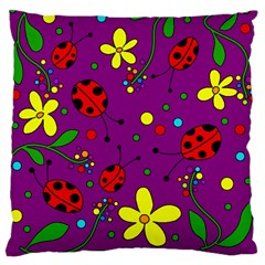 Ladybugs   Purple Standard Flano Cushion Case (one Side) by Valentinaart