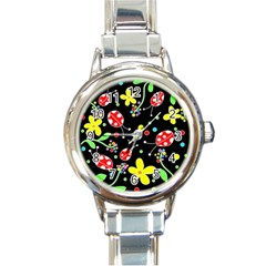 Flowers And Ladybugs Round Italian Charm Watch by Valentinaart