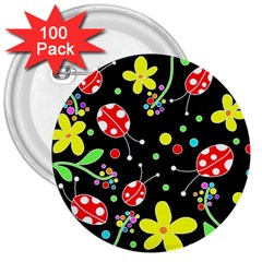 Flowers And Ladybugs 3  Buttons (100 Pack)  by Valentinaart