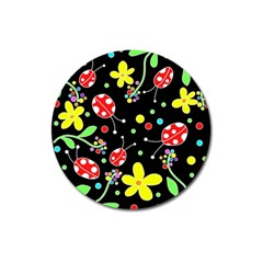 Flowers And Ladybugs Magnet 3  (round) by Valentinaart