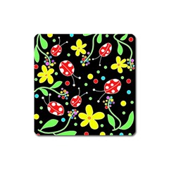 Flowers And Ladybugs Square Magnet by Valentinaart