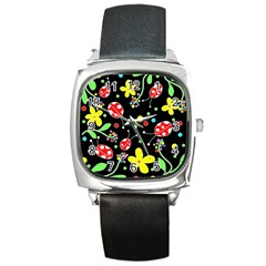 Flowers And Ladybugs Square Metal Watch by Valentinaart