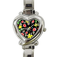 Flowers And Ladybugs Heart Italian Charm Watch by Valentinaart