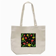 Flowers And Ladybugs Tote Bag (cream) by Valentinaart