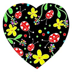 Flowers And Ladybugs Jigsaw Puzzle (heart) by Valentinaart