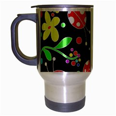 Flowers And Ladybugs Travel Mug (silver Gray) by Valentinaart